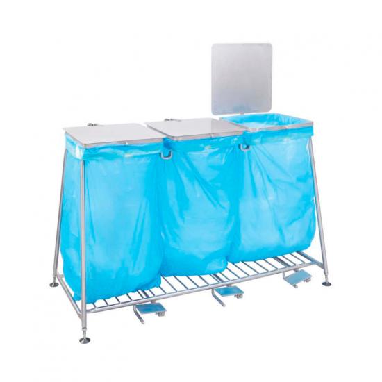 100478, Rustfri stål affaldsstation med fodpedal fra Höcker – 120 liter