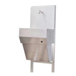 100511, Håndvask med bagvæg i rustfrit stål
