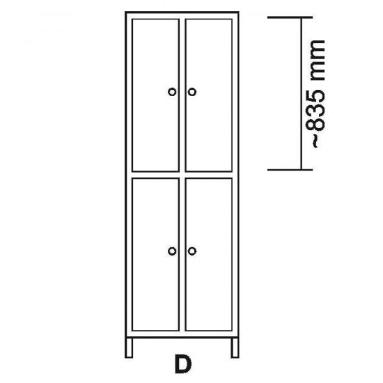 100742, Garderobeskab LS i rustfrit stål