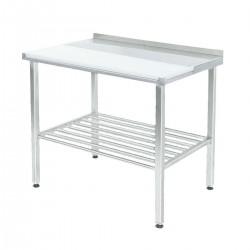 100795, Arbejdsbord i rustfrit stål med skæreplade og bagkant