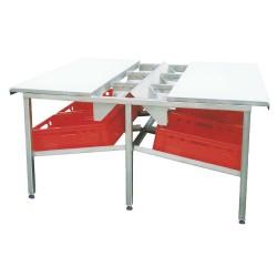 100802, Skærebord i rustfrit stål med polyethylen skæreplader