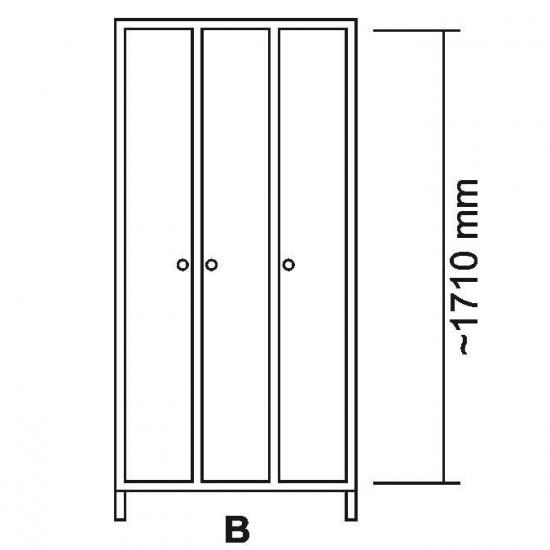 108449, Garderobeskab LS i rustfrit stål